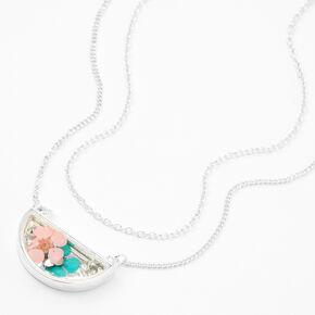 Collier à pendentif multi-rangs fleur demi-lune couleur argentée,