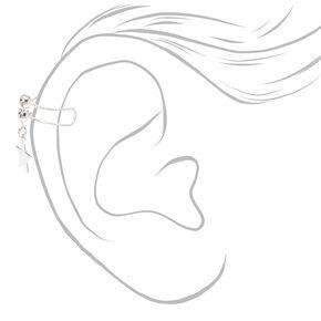 Silver Crystal Star Ear Cuff,
