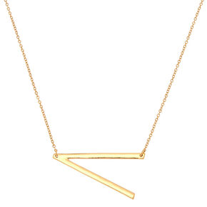 Oversized Initial Pendant Necklace - V,