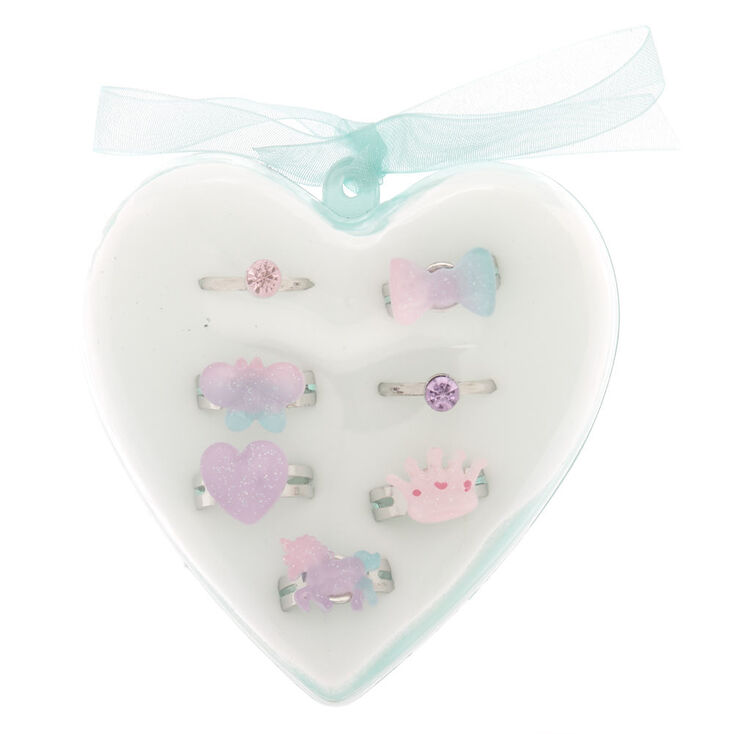Claire's Club Ombre Charm Heart Box Rings - Mint, 7 Pack,
