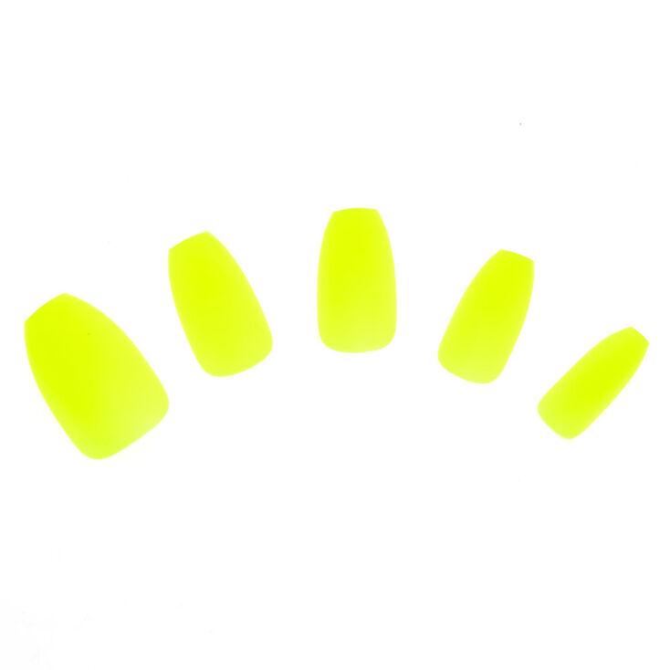 Matte Coffin Faux Nail Set - Yellow, 24 Pack,