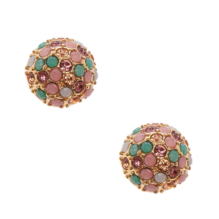 Pastel Pave Gold Dome Stud Earrings,