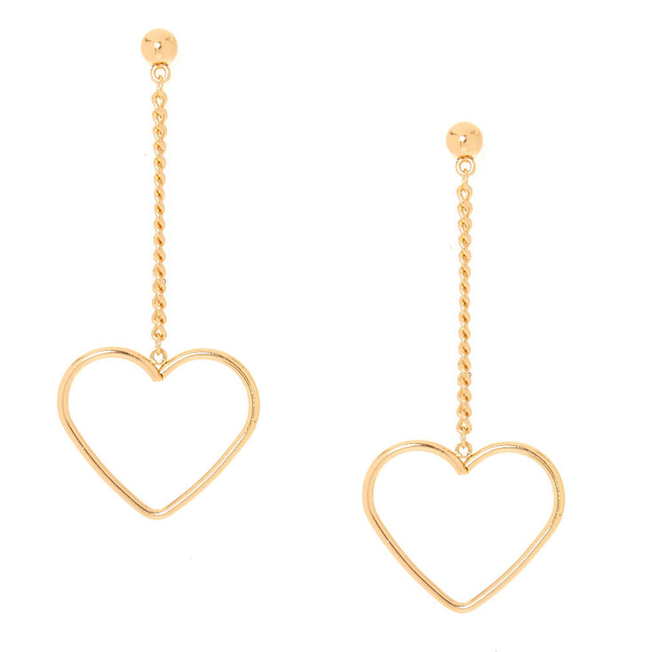 b1ffb8f12 Gold Tone Heart Drop Earrings | Claire's