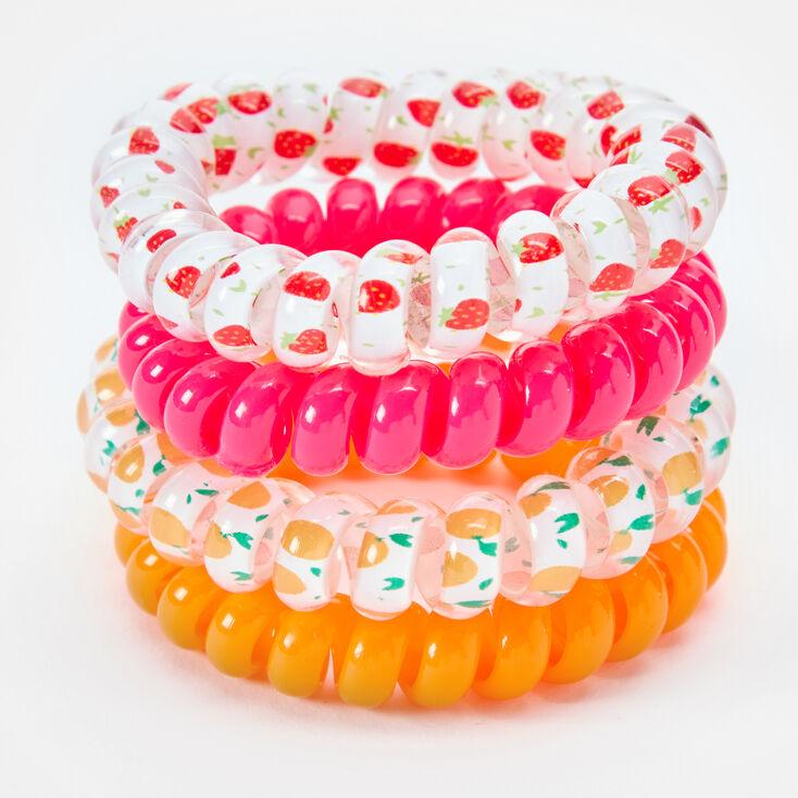 Élastiques spirales fruits fluo - Lot de 4,