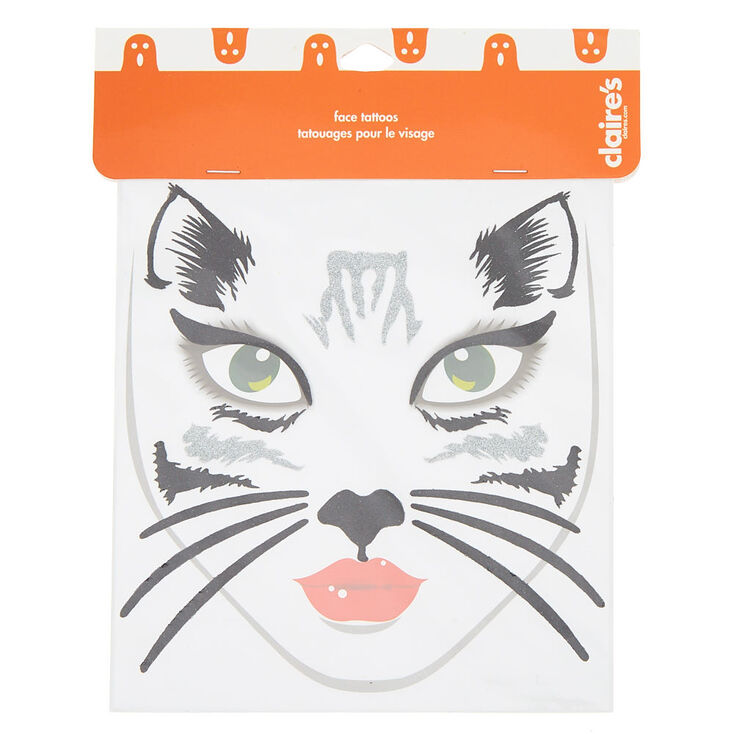 Cat Face Tattoos - Black, 18 Pack,