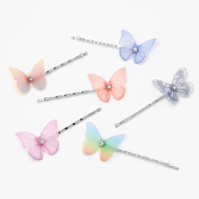 Silver Faux Crystal Pastel Butterfly Hair Pins - 6 Pack,