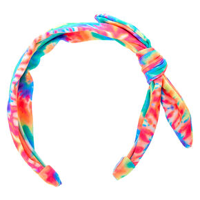 Neon Tie Dye Knotted Bow Headband,