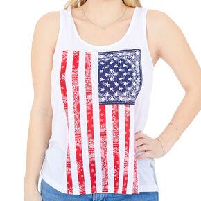 e00c8f4624d3 American Flag Bandana Lace Tank - White