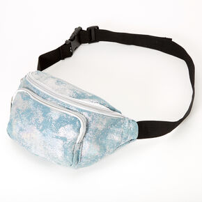 Holographic Denim Bum Bag - Blue,