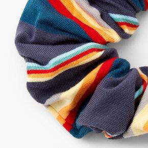 Medium Striped Hair Scrunchie - Navy,