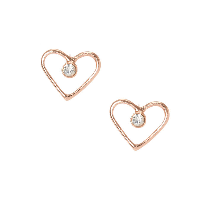 18kt Rose Gold Plated Heart Crystal Stud Earrings,