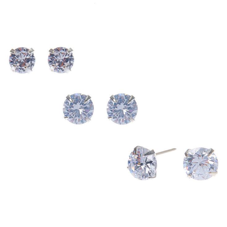 Silver Cubic Zirconia Round Stud Earrings - 6MM, 7MM, 8MM,