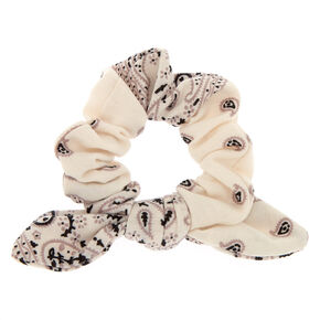 Small Bandana Knotted Bow Hair Scrunchie - White,