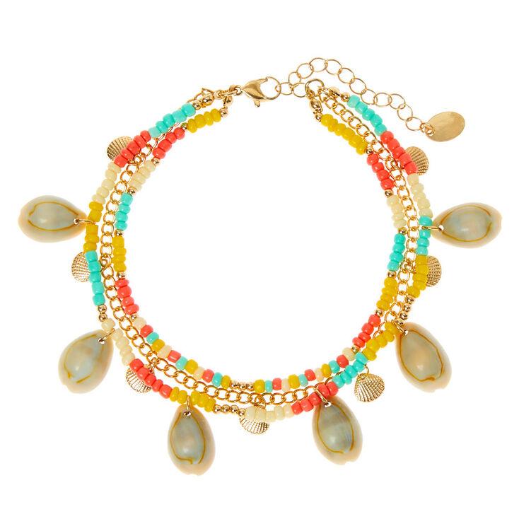Bracelet de cheville multi-rangs coquillage cauri perlé tropical couleur doré,