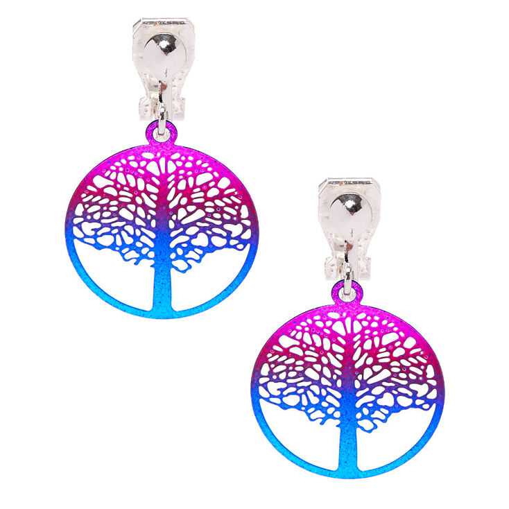 "1"" Ombre Tree of Life Clip On Drop Earrings,"