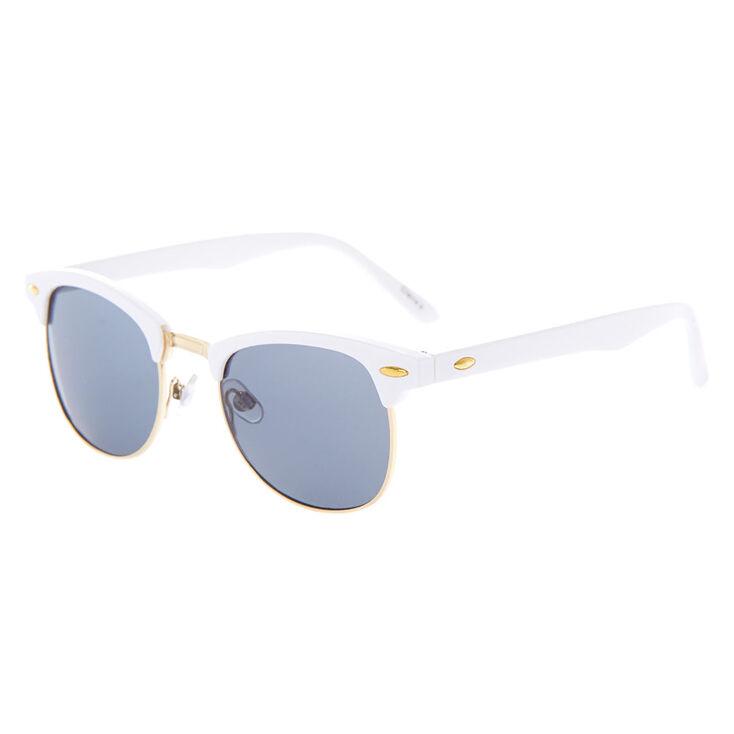 Gold Retro Browline Sunglasses - White,