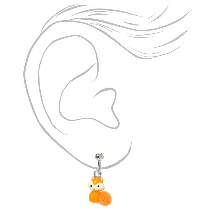 Pendantes à clip avec pompon Farrah la renarde 1,5cm couleur argentée - Orange,
