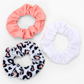 Claire's Club Pink Leopard Scrunchies - Pink, 3 Pack,
