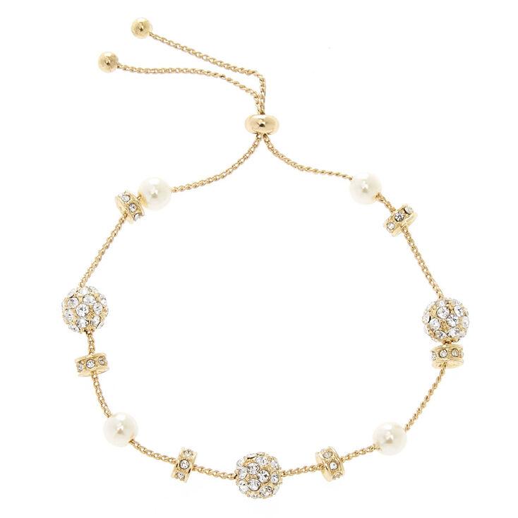 Gold Fireball Pearl Adjustable Bracelet,