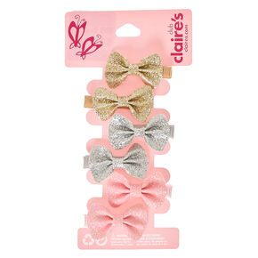 Claire's Club Glitter Bows Hair Clips - 6 Pack,
