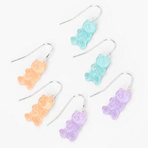 Silver 1'' Glow In The Dark Pastel Gummy Bear Drop Earrings - 3 Pack,