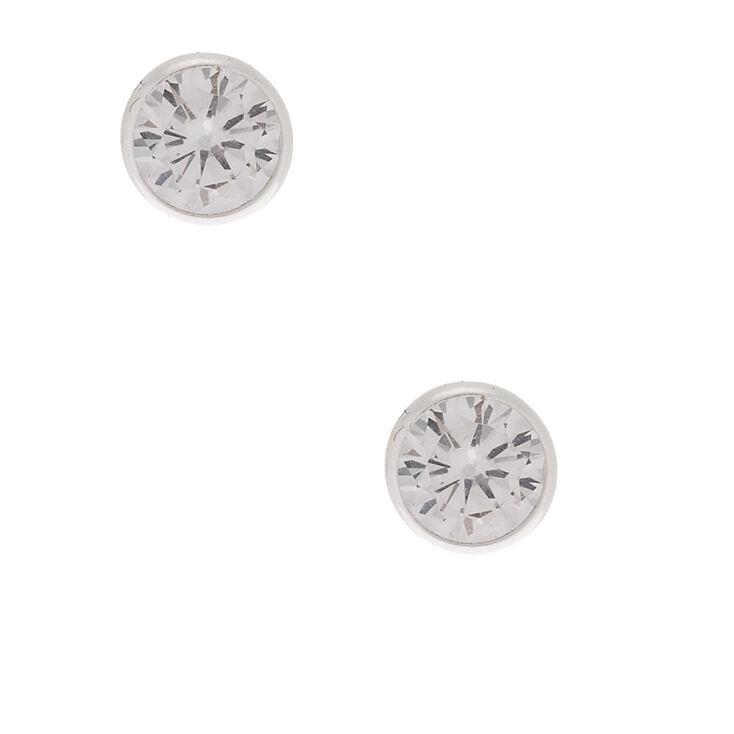 Sterling Silver Cubic Zirconia 6MM Bezel Stud Earrings,