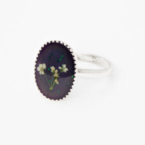 Pressed Flowers Oval Mood Ring - Silver,