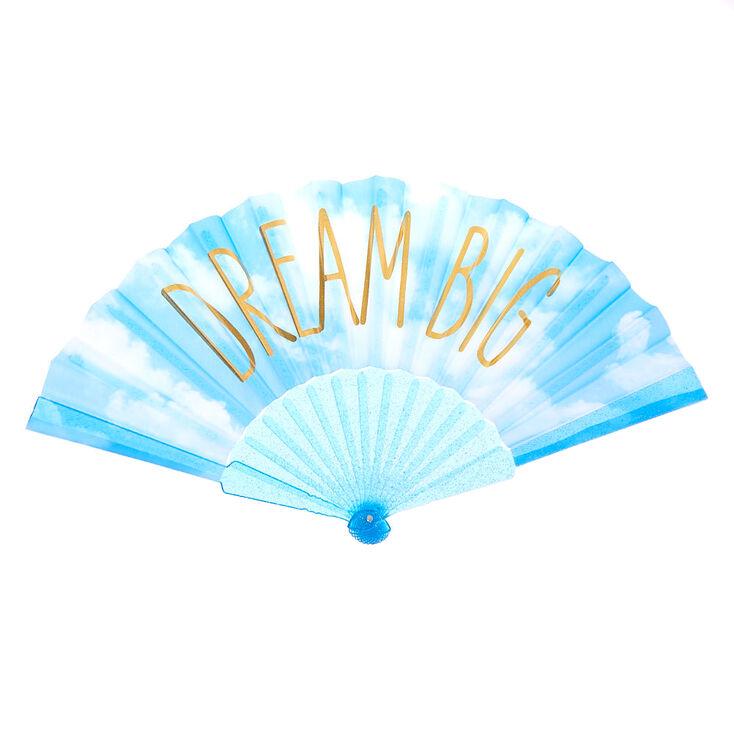 Dream Big Clouds Folding Fan - Blue,