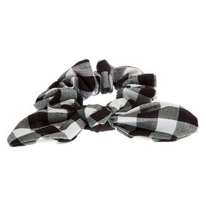 Small Gingham Knotted Bow Hair Scrunchie - Black,