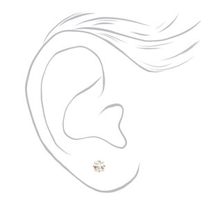 Gold Titanium Cubic Zirconia Square Stud Earrings - 3MM,