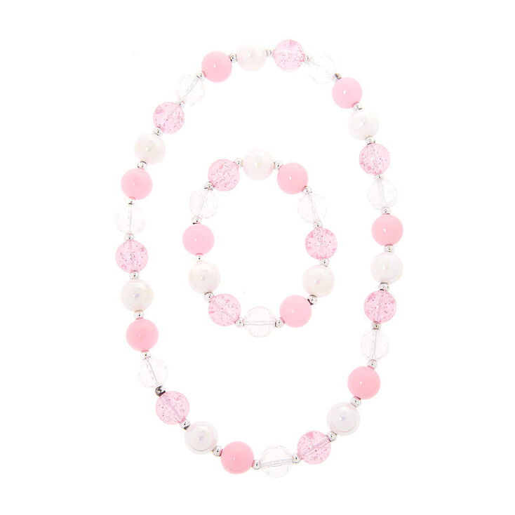 Kids Pink, Iridescent and Clear Beaded Bracelet and Necklace Set