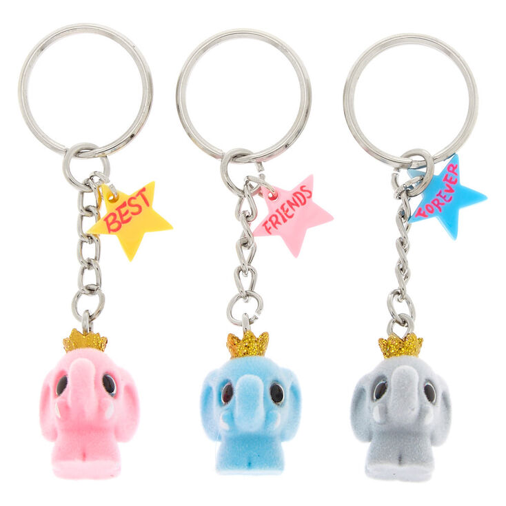 Best Friends Elephant Keychains - Pink, 3 Pack,