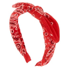 Bandana Knotted Bow Headband - Red,
