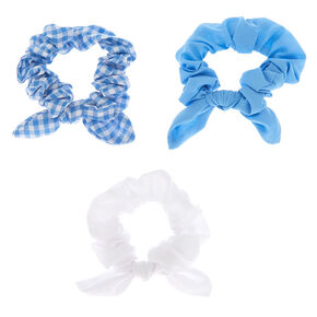 Claire's Club Small Knotted Bow Hair Scrunchies - Blue, 3 Pack,