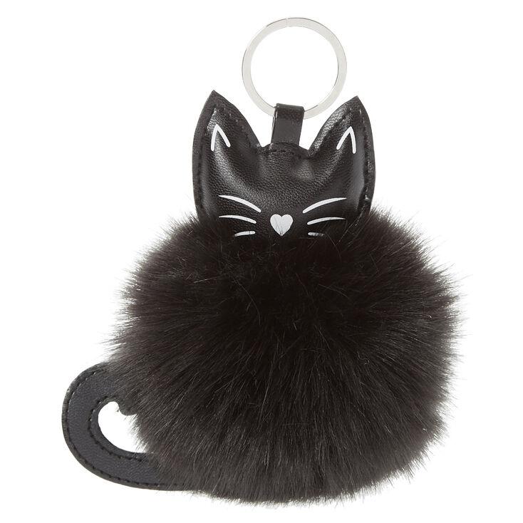 Black Cat Pom Pom Key Ring  1aae84345