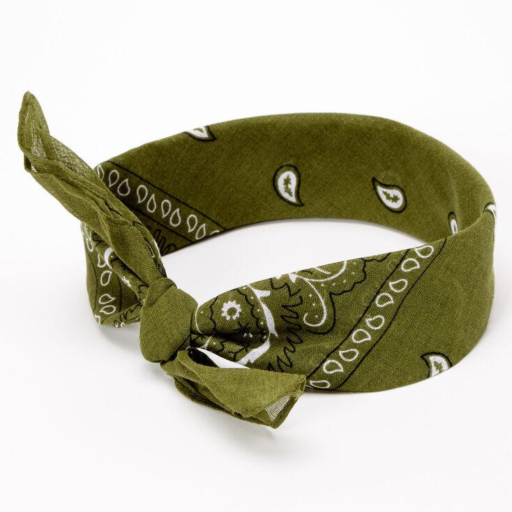 Paisley Bandana Headwrap - Olive Green,