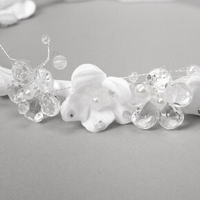 Claire's Club Flower Garland Headwrap Veil - White,