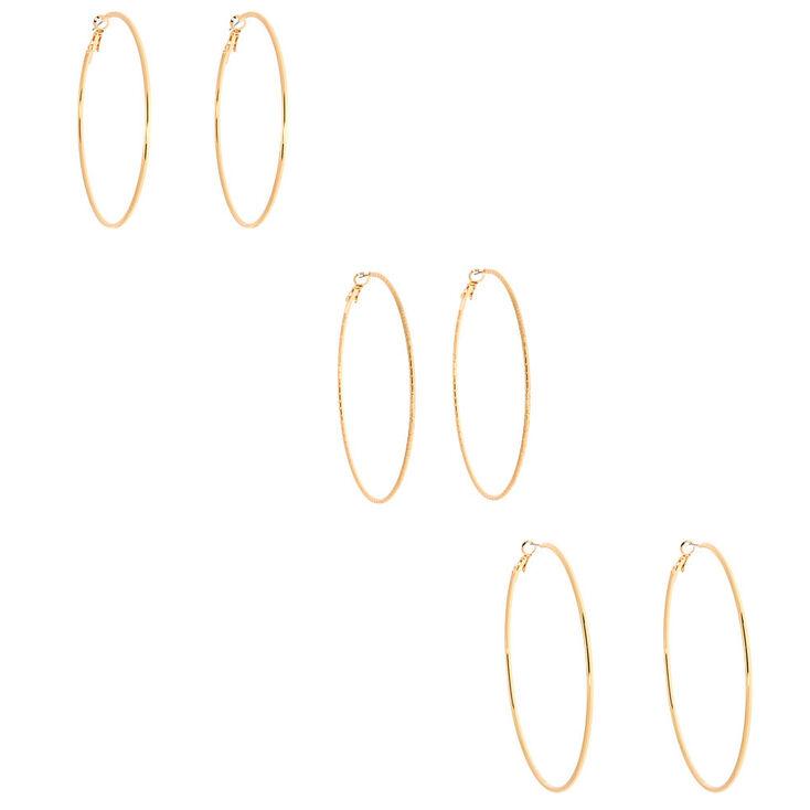 Gold Graduated Hoop Earrings - 3 Pack,
