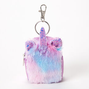 Furry Ombre Unicorn Mini Backpack Keychain,
