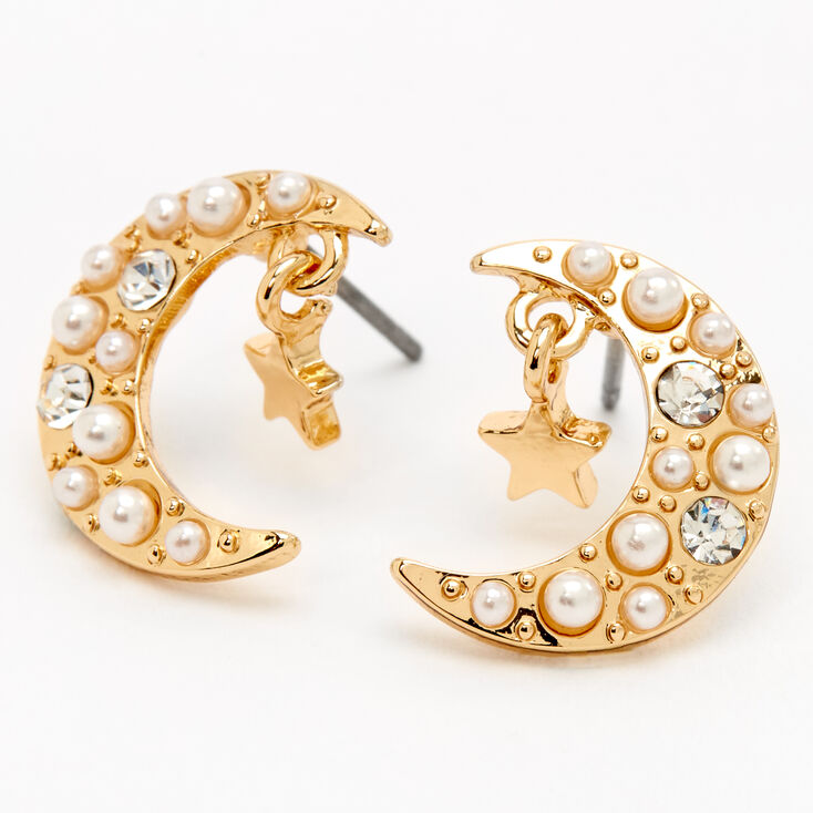 Gold Pearl Crescent Moon Star Stud Earrings,