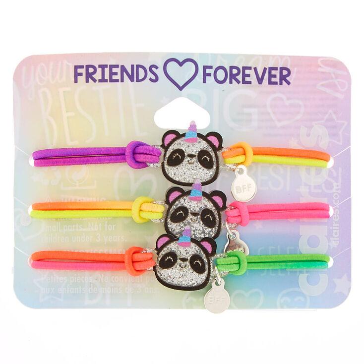 Neon Glitter Panda Stretch Friendship Bracelets - 3 Pack,