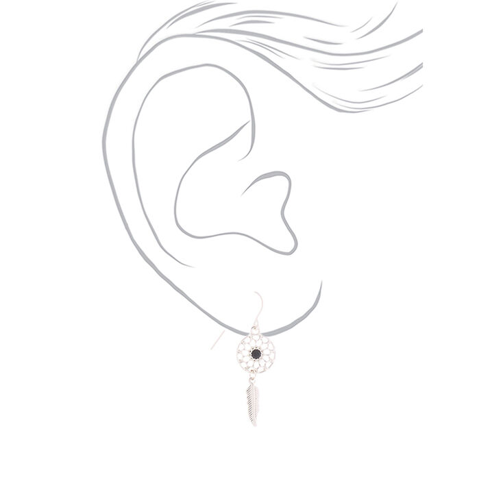 Silver Dreamcatcher and Feather Drop Earrings - 3 Pack,