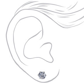 Sterling Silver Cubic Zirconia Round Stud Earrings - 5MM,