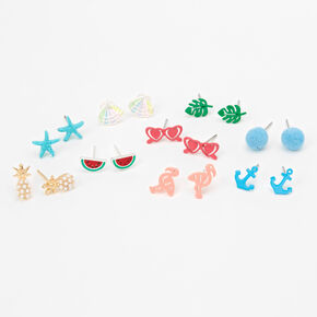 Life's A Beach Pastel Stud Earrings - 9 Pack,