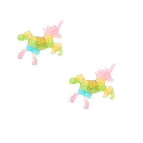 Glitter Rainbow Unicorn Stud Earrings,