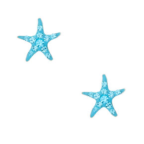 Sterling Silver Starfish Stud Earrings - Turquoise,