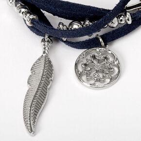 Bracelet double tour de poignet avec breloques plumes - Bleu marine,