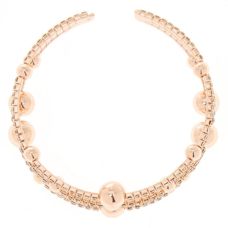 Rose Gold Glass Rhinestone Orbit Bracelet,