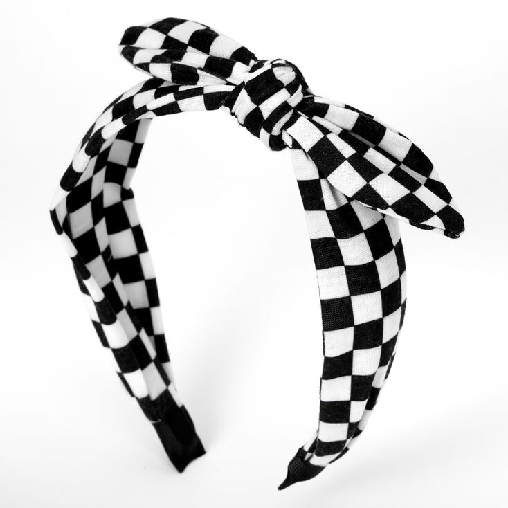 Black & White Checkered Knotted Bow Headband,