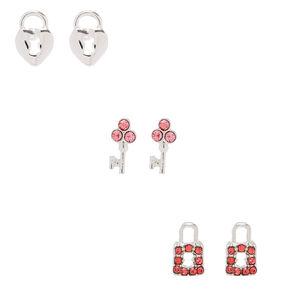 Silver Lock & Key Stud Earrings - Pink, 3 Pack,